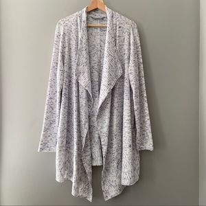 Lands' End Speckled Ribbed Waterfall Cardigan 1X